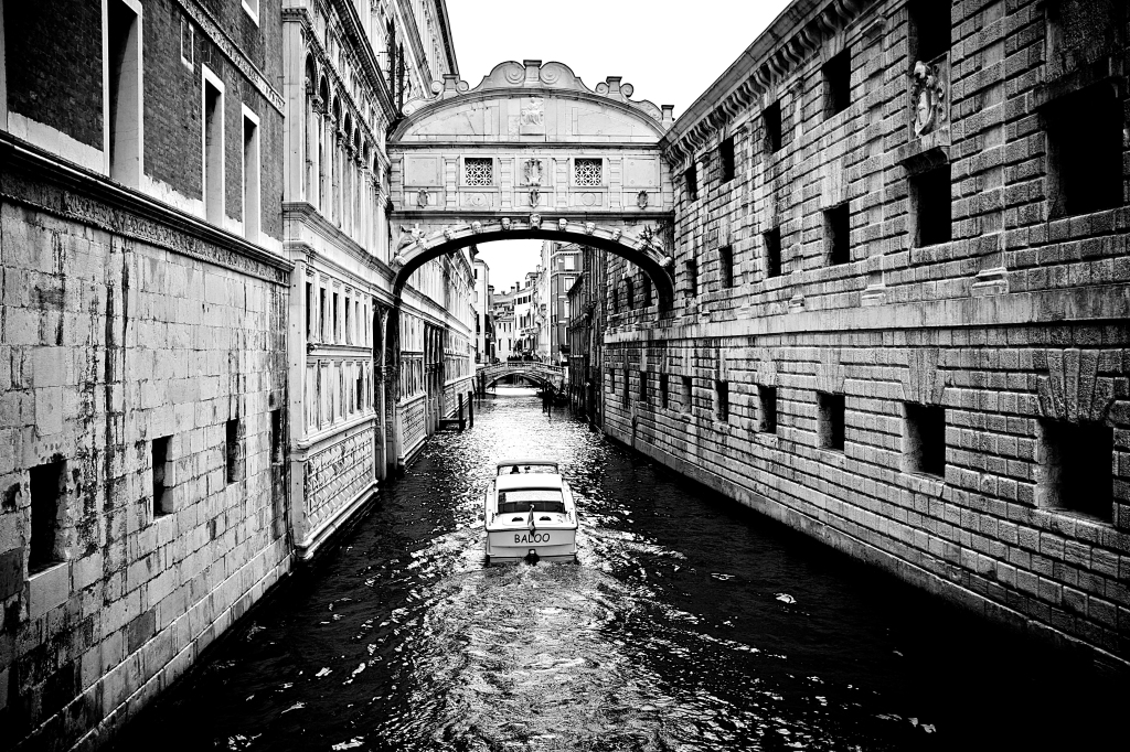 Black and White Image of a Canal In Venice